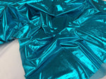 Metallic Spandex Foil Fabric Turquoise By Yard - KINGDOM OF FABRICS