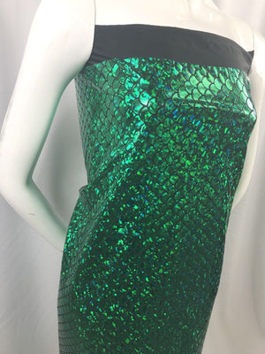Mermaid Fabric Fish Tail Scale Sparkle Hologram Spandex Green By The Yard - KINGDOM OF FABRICS