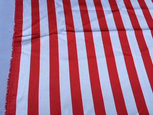 White/red 1inch Stripe Soft/silky Charmeuse Satin Fabric. Sold By The Yard. - KINGDOM OF FABRICS