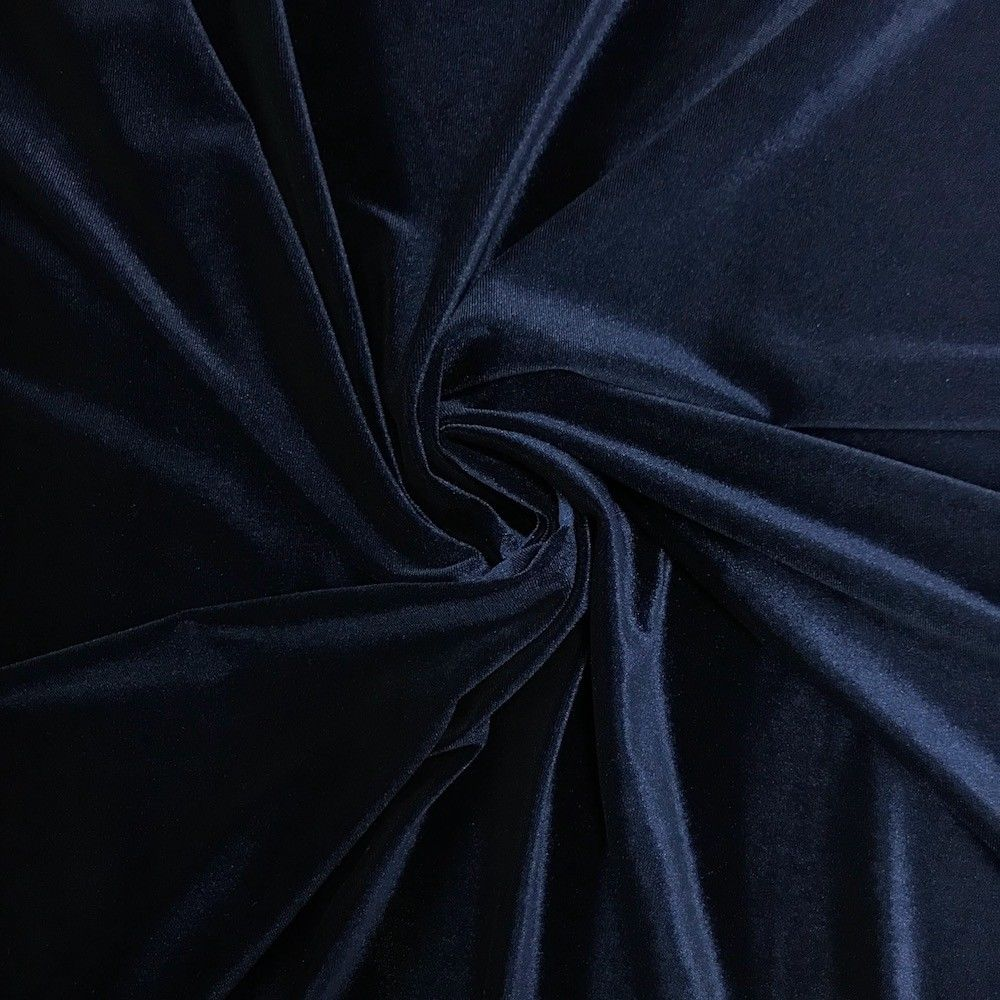 Stretch Velvet Fabric Navy Blue Fabric Velvet Fabric By The Yard Sewing Fabric - KINGDOM OF FABRICS