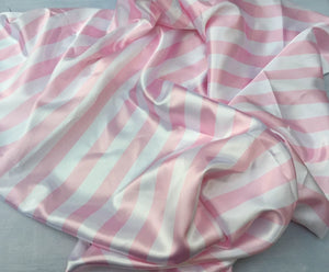 White/pink 1inch Stripe Silky/soft Charmeuse Satin Fabric. Sold By The Yard. - KINGDOM OF FABRICS