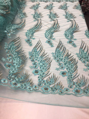 Her Majesty Designs Super Luxurious Beaded Bridal Mesh Lace Turquoise. 1 Yard - KINGDOM OF FABRICS