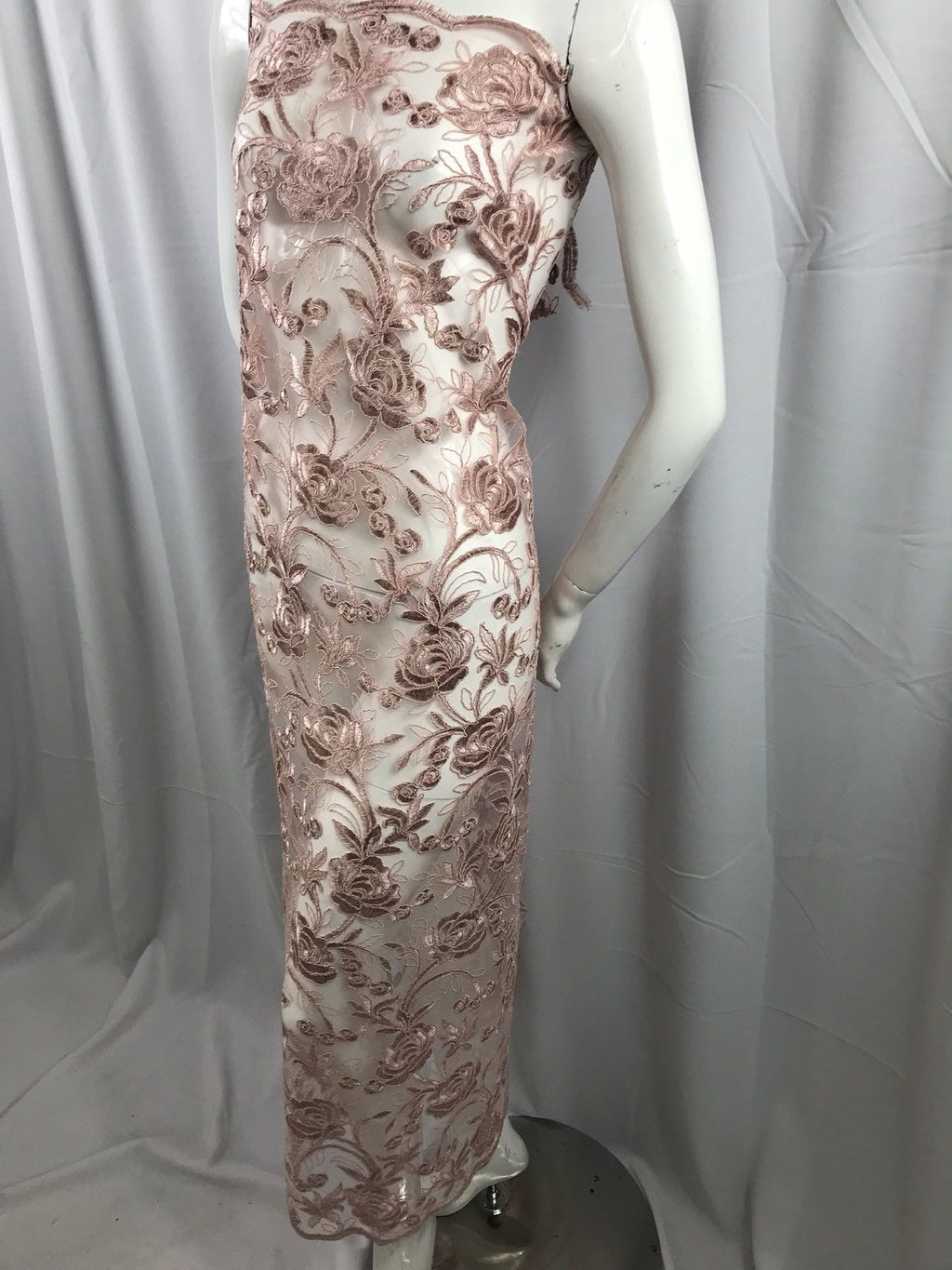 Vegas Design Lace Fabric - Flower Mesh Top Bridal Veil Wedding Dress Dusty Rose By The Yard - KINGDOM OF FABRICS