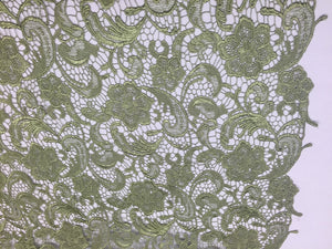 Unique Guipure Flower Design Mesh Lace Fabric Bridal Sage. Sold By the yard - KINGDOM OF FABRICS