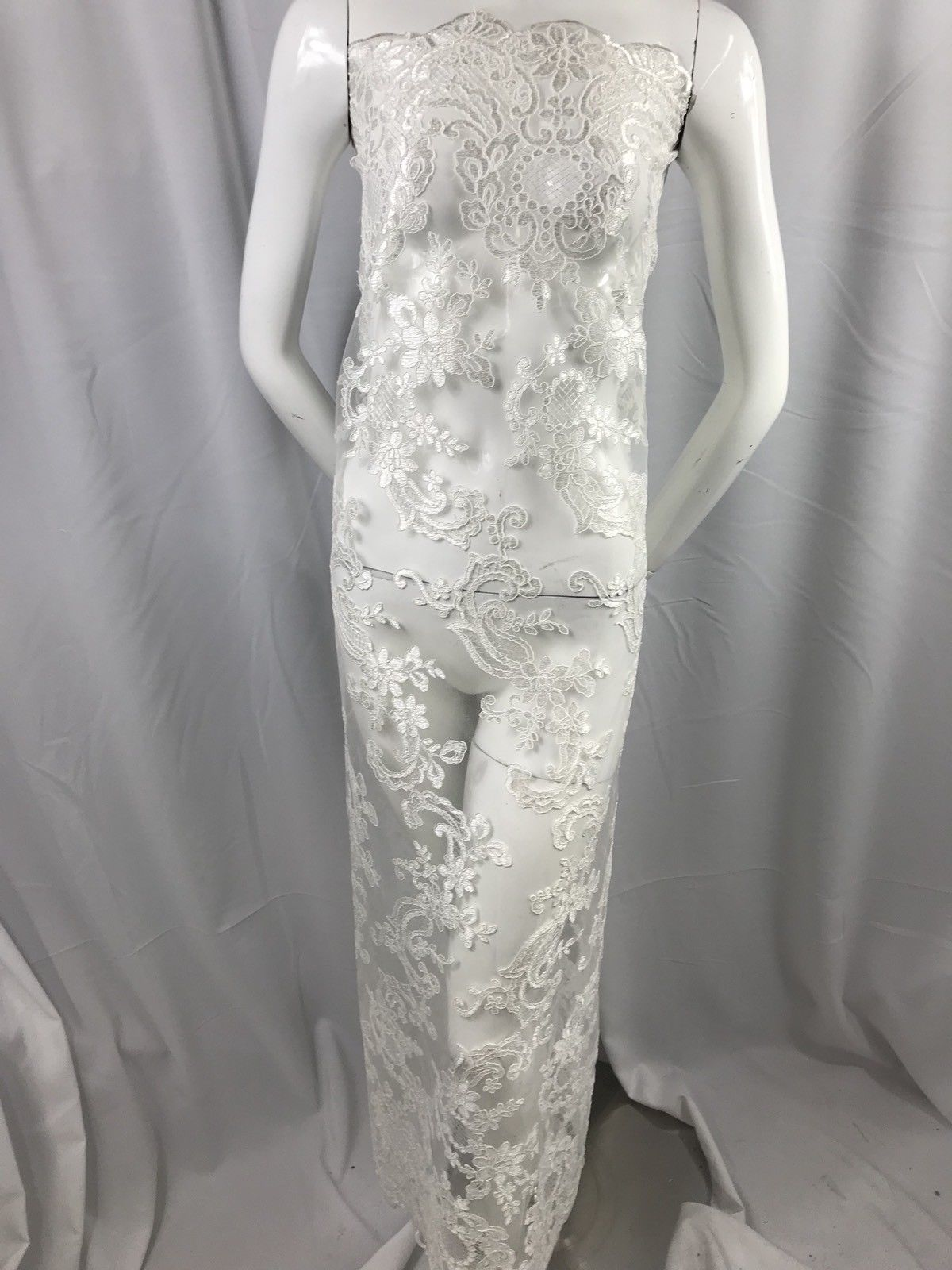Lace fabric By The Yard Of White Flower Mesh Dress Embroidered Bridal Wedding - KINGDOM OF FABRICS