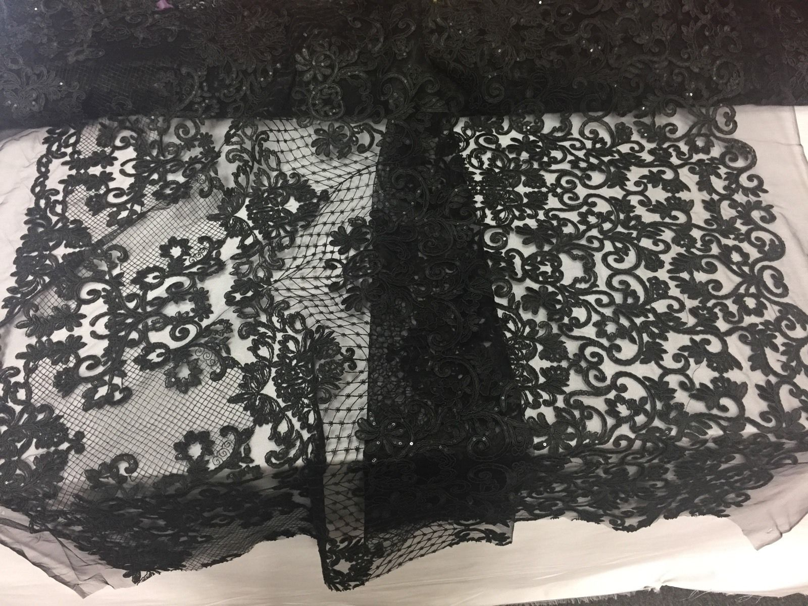 Black Angelic Corded Design Embroider With Glitter Sequins On A Mesh Lace.yard. - KINGDOM OF FABRICS