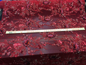 Luxury Lux Bridal Wedding Flowers Beaded Mesh Lace Red. Sold By Yard - KINGDOM OF FABRICS