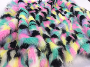 Faux Fur Fabric Multicolor Pastel Sold By Yard. - KINGDOM OF FABRICS
