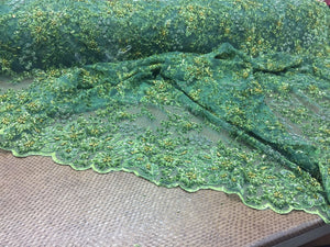 Super Heavy Beaded Mesh Multi Color Flower Bridal Wedding Green. Sold By Yard - KINGDOM OF FABRICS