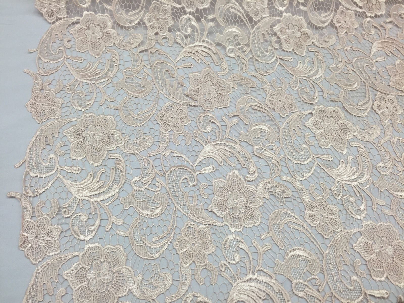Unique Guipure Flower Design Mesh Lace Fabric Bridal Peach. Sold By the yard - KINGDOM OF FABRICS