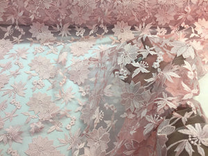 Pink Daisy Flower Design Embroider On A Mesh Lace-nightgown-prom-by yard - KINGDOM OF FABRICS