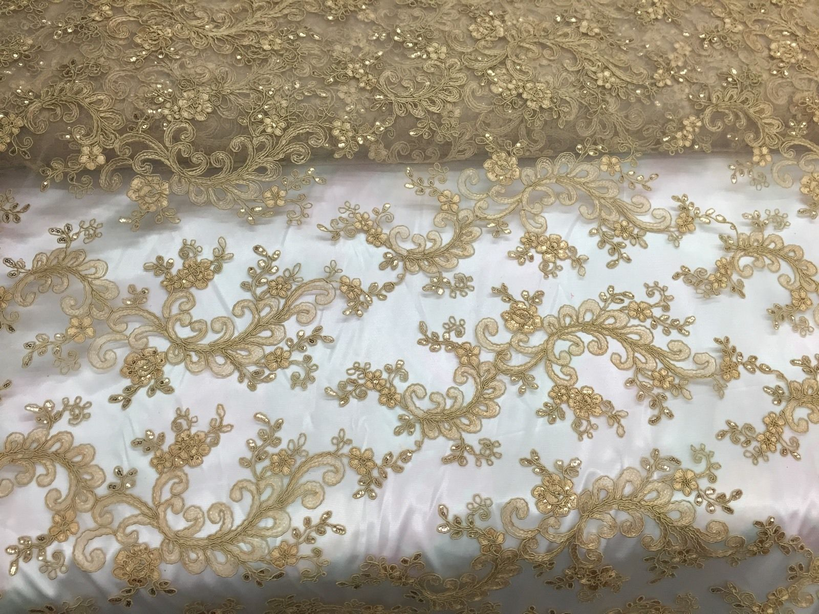 Gold French Corded Design-embroider With Sequins On A Mesh Lace Fabric-by Yard- - KINGDOM OF FABRICS