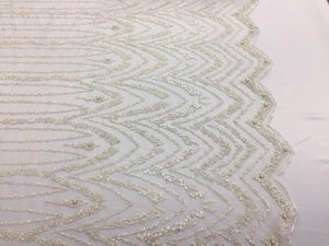Italiano Designs Super Luxurious Beaded Bridal Wedding Mesh Lace Ivory. 1 Yrd - KINGDOM OF FABRICS