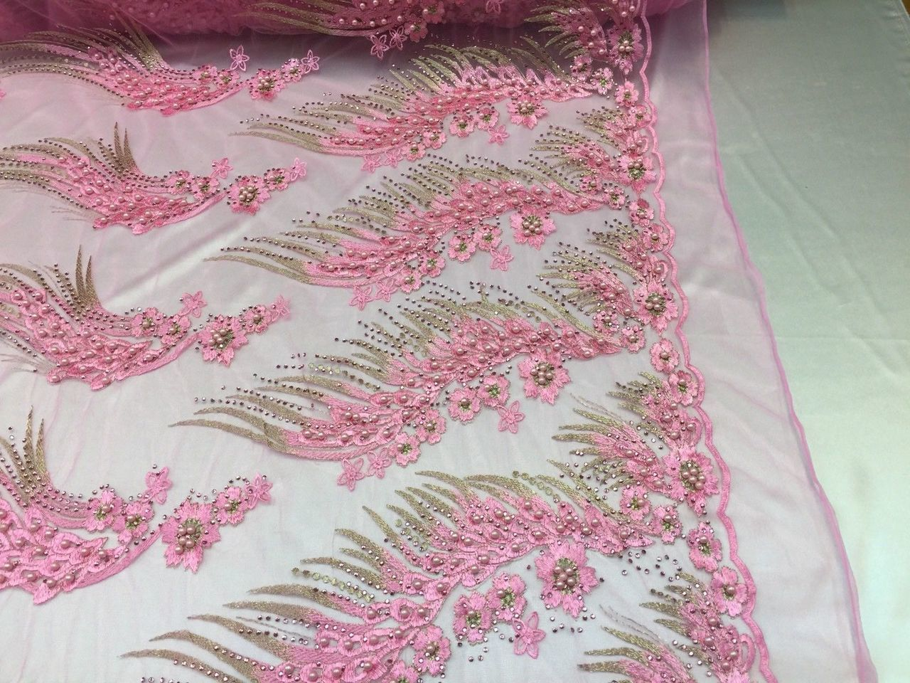 Her Majesty Designs Super Luxurious Beaded Bridal Wedding Mesh Lace Pink. 1 Yard - KINGDOM OF FABRICS