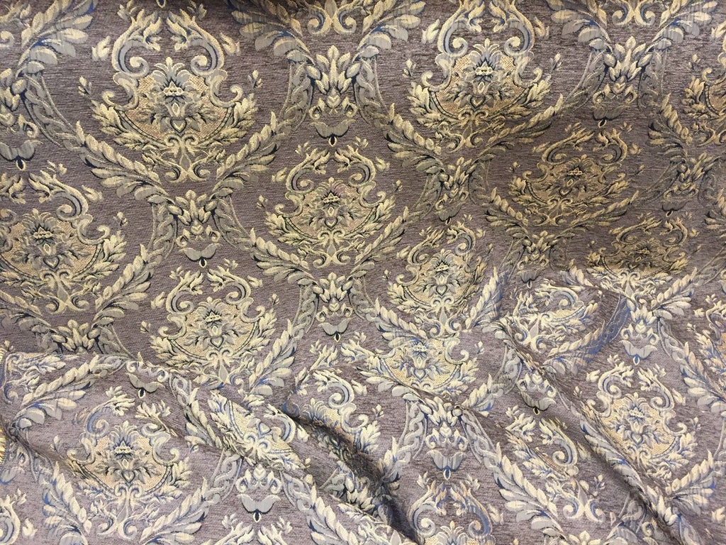 Chenille upholstery Drapery Damask Brown Gold Print furniture fabric sold BTY - KINGDOM OF FABRICS