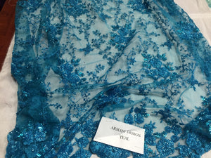 Stunning Small Flower Heavy Beaded Mesh Lace Bridal Wedding Teal Sold By Yard - KINGDOM OF FABRICS