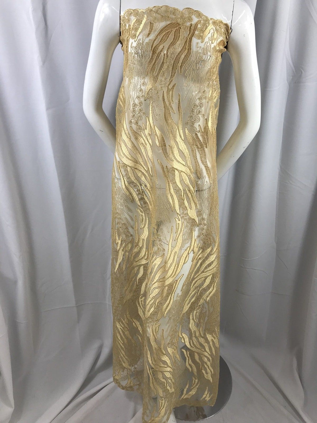 Lace fabric - Gold Flower Mesh Dress Embroidered Bridal Wedding By The Yard - KINGDOM OF FABRICS