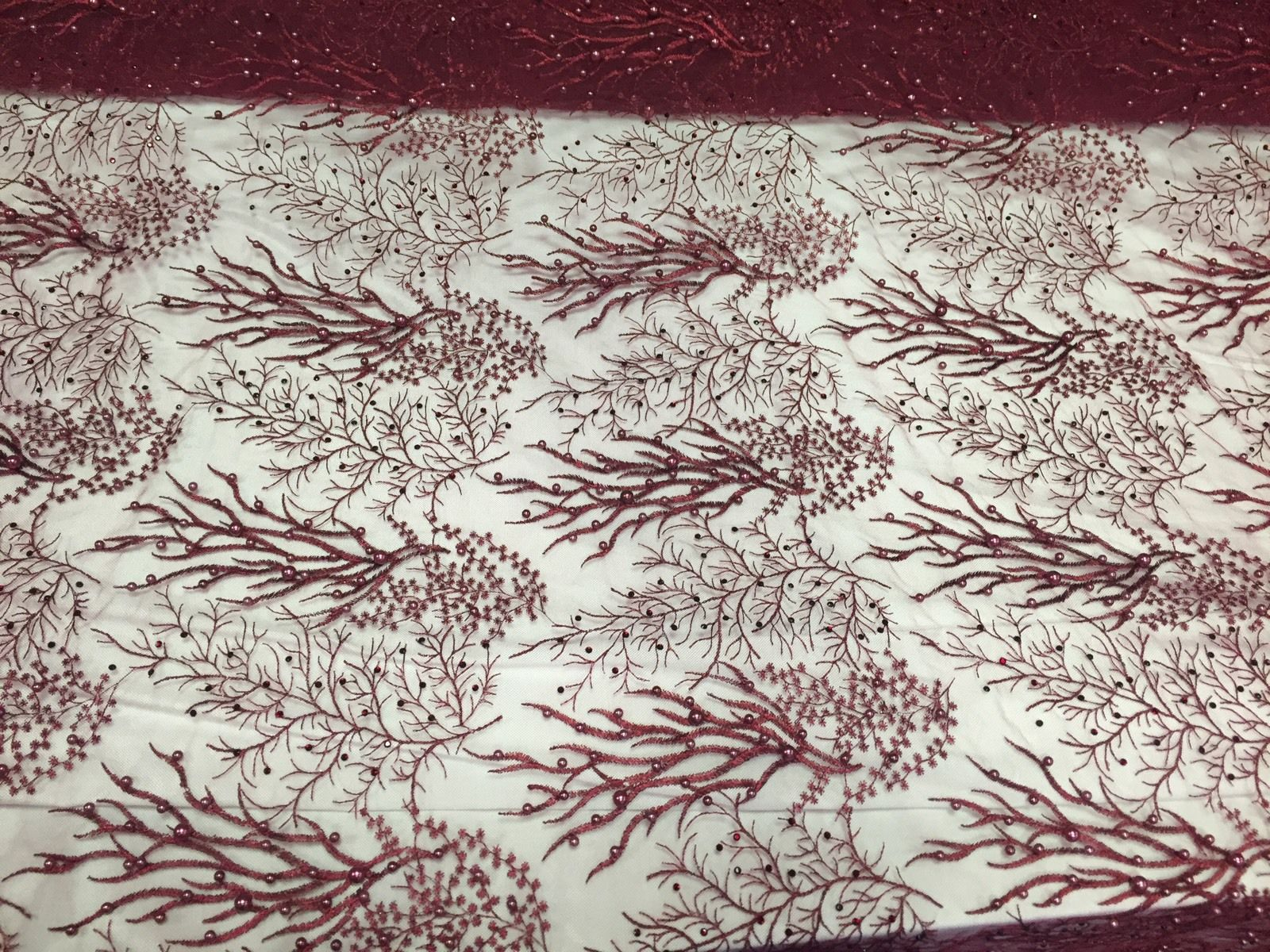 Royalty Pearls Branch Design Mesh Lace Fabric Burgundy. Sold By The Yard - KINGDOM OF FABRICS