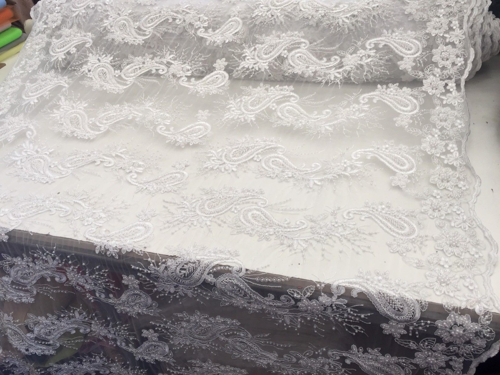 Beaded White Mesh Lace Fabric With Pearls Luxurious By Yard - KINGDOM OF FABRICS