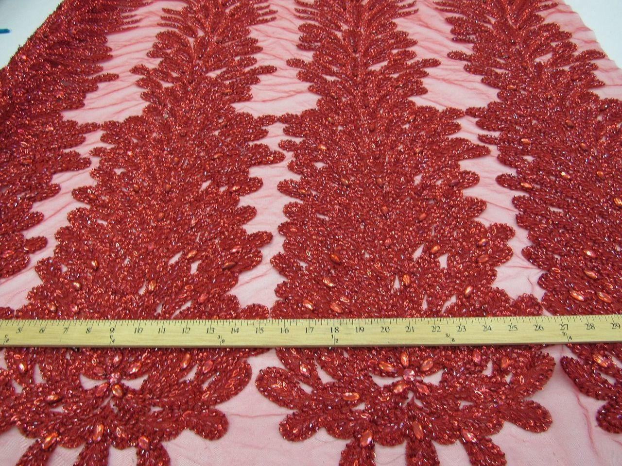 Supreme bridal wedding peacock beaded feather mesh lace red. Sold by 2 feather. - KINGDOM OF FABRICS