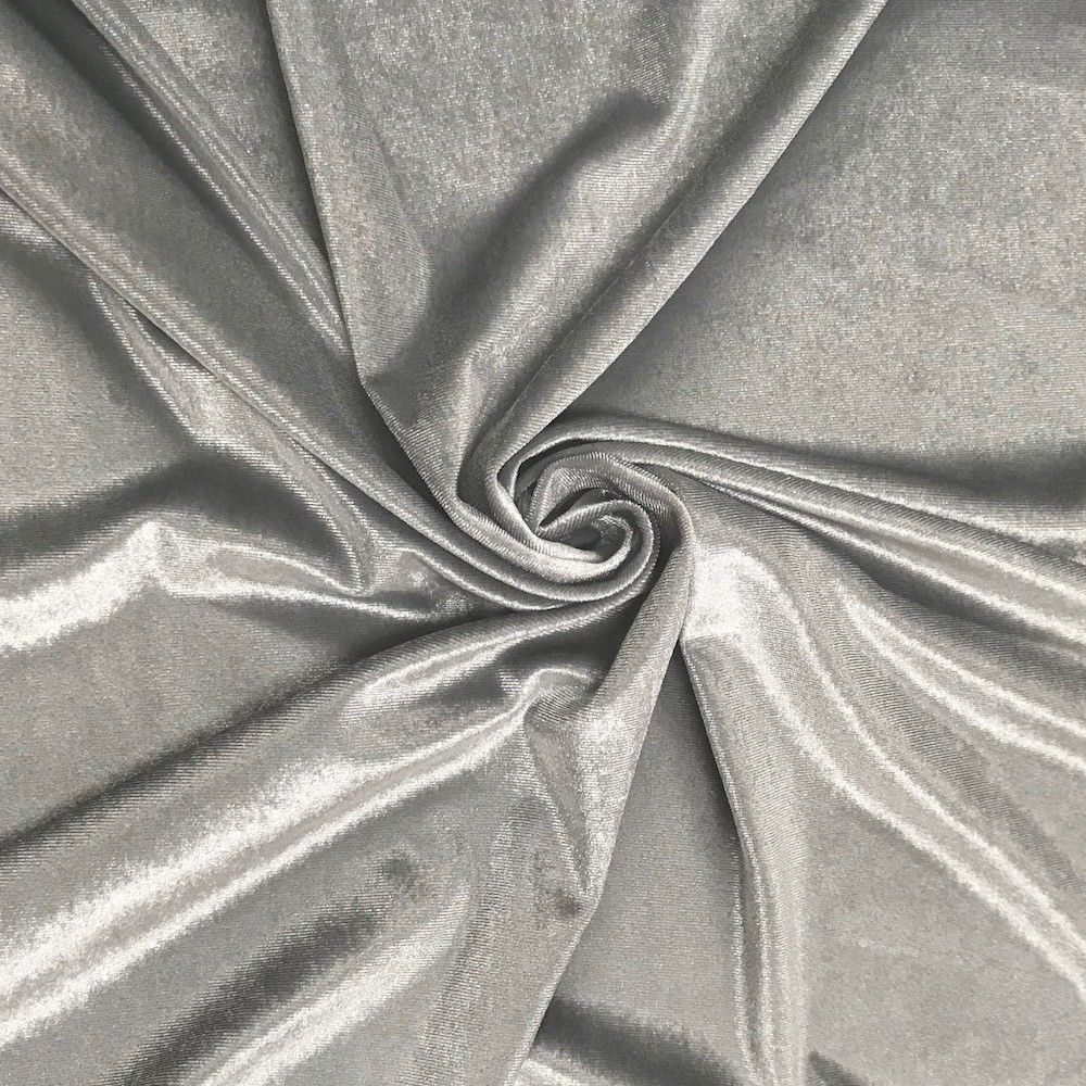 Stretch Velvet Fabric Silver Fabric Velvet Fabric By The Yard Sewing Fabric - KINGDOM OF FABRICS