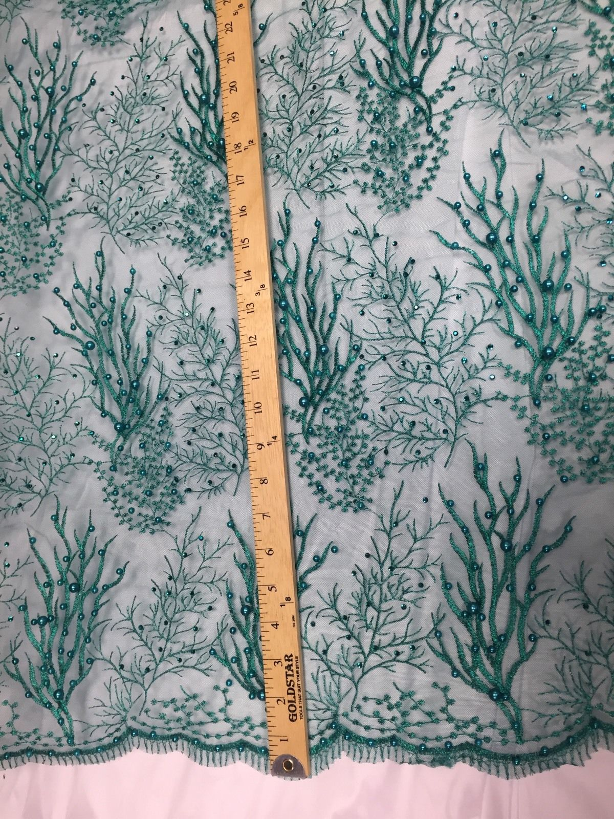 Royalty Pearls Branch Design Mesh Lace Fabric Teal. Sold By The Yard - KINGDOM OF FABRICS