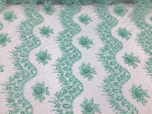 Fantastic Mint Pearl Design Embroidery And Heavy Beaded On A Mesh Lace-by Yard - KINGDOM OF FABRICS