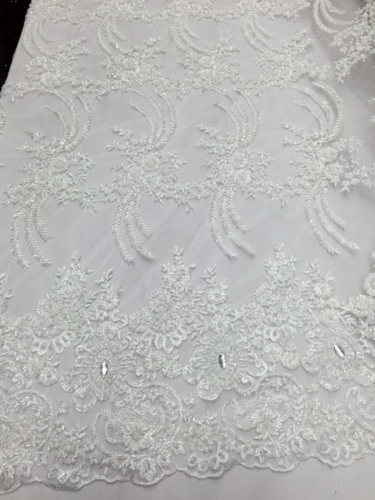 Nazareth Flower Beaded Design Mesh Lace Bridal Wedding White. Sold By The Yard - KINGDOM OF FABRICS