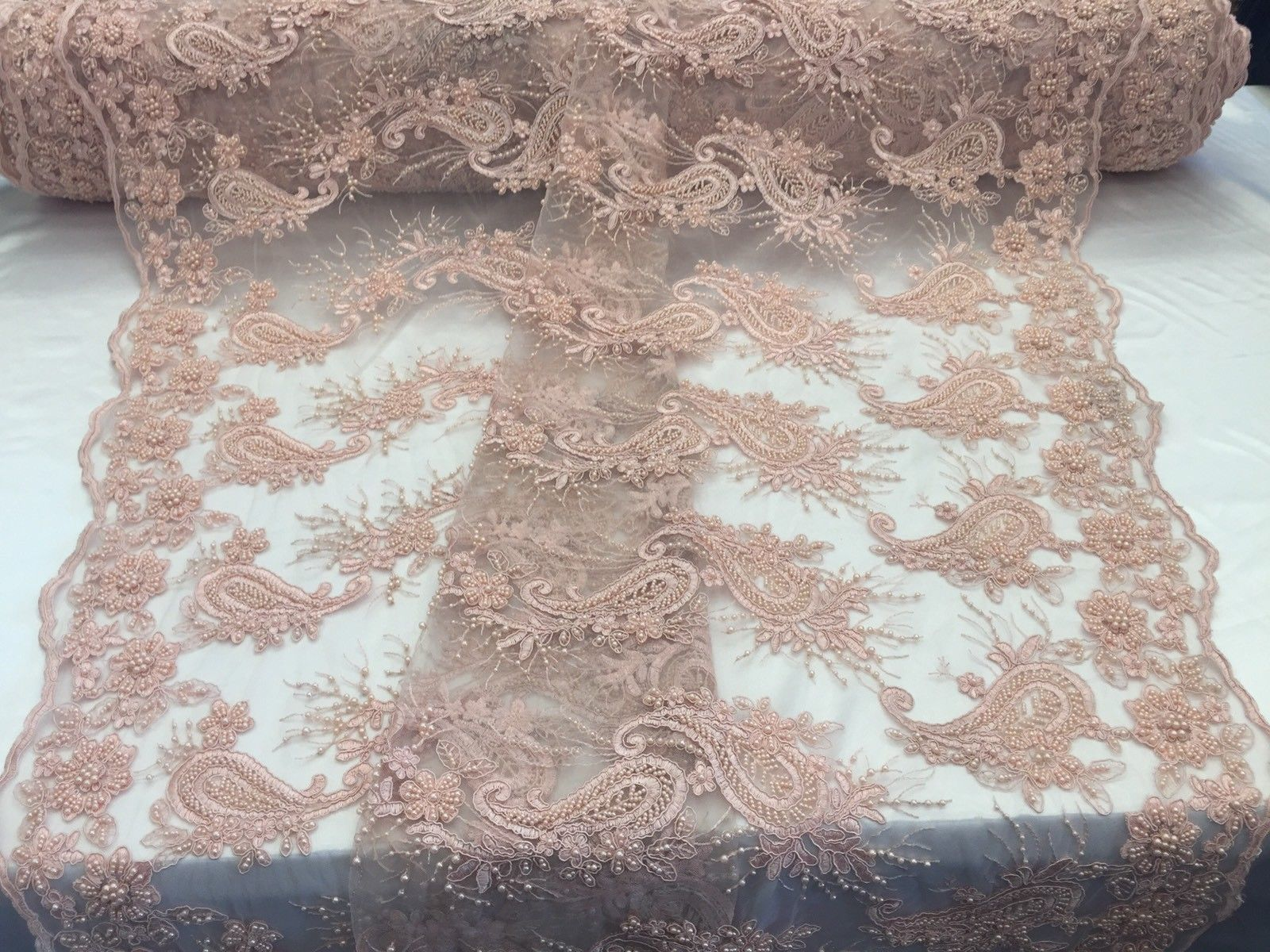 Lace fabric - Wedding Pearls Peach Flower Mesh Dress & Birdal Veil By The Yard - KINGDOM OF FABRICS