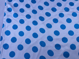 White Turquoise 1inch Polka Dot Silky Charmeuse Satin Fabric. Soft/Shiny Fabric. - KINGDOM OF FABRICS