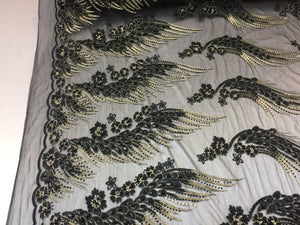 Her Majesty Designs Super Luxurious Beaded Bridal Wedding Mesh Lace Black. 1 Yrd - KINGDOM OF FABRICS