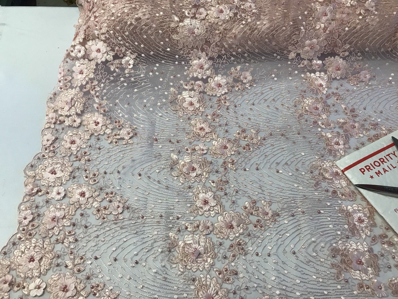 Bridal Flower Embroidered Floral Mesh & Pearls By Yard Lace Fabric Light Peach - KINGDOM OF FABRICS