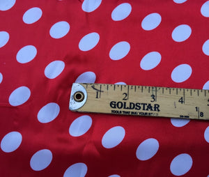 Red/white 1/2inch Polka Dot Silky/soft Charmeuse Satin Fabric. (20 Yards) - KINGDOM OF FABRICS