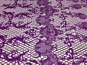 PURPLE DAMASK DESIGN EMBROIDERY WITH A METALLIC DIAMOND PATTERN ON A NUDE MESH. - KINGDOM OF FABRICS