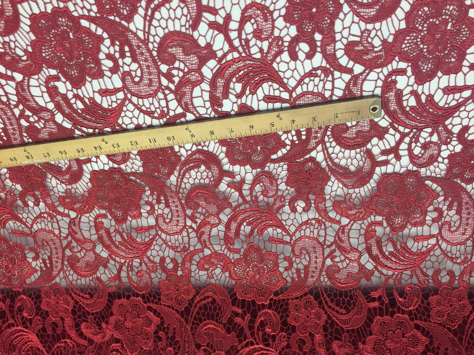 Unique Guipure Flower Design Mesh Lace Fabric Bridal Burgundy. Sold By the yard - KINGDOM OF FABRICS