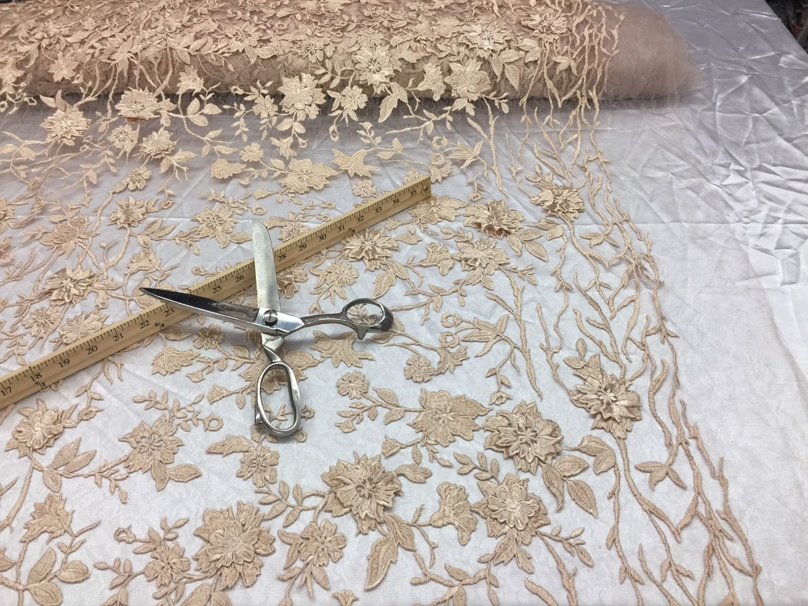 Flower Fabric - Mesh Net Type Spider 3D Flowers Champagne For Dress By The Yard - KINGDOM OF FABRICS