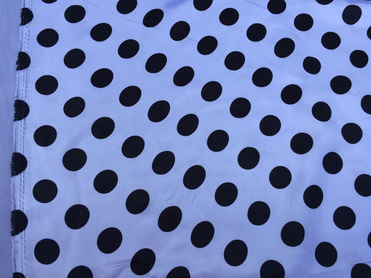 White Black 1inch Polka Dot Silky Charmeuse Satin Fabric. Sold By The Yard. - KINGDOM OF FABRICS