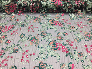 Lace Fabric - By The Yard Embroidered With Flowers multicolor For Wedding Dress - KINGDOM OF FABRICS