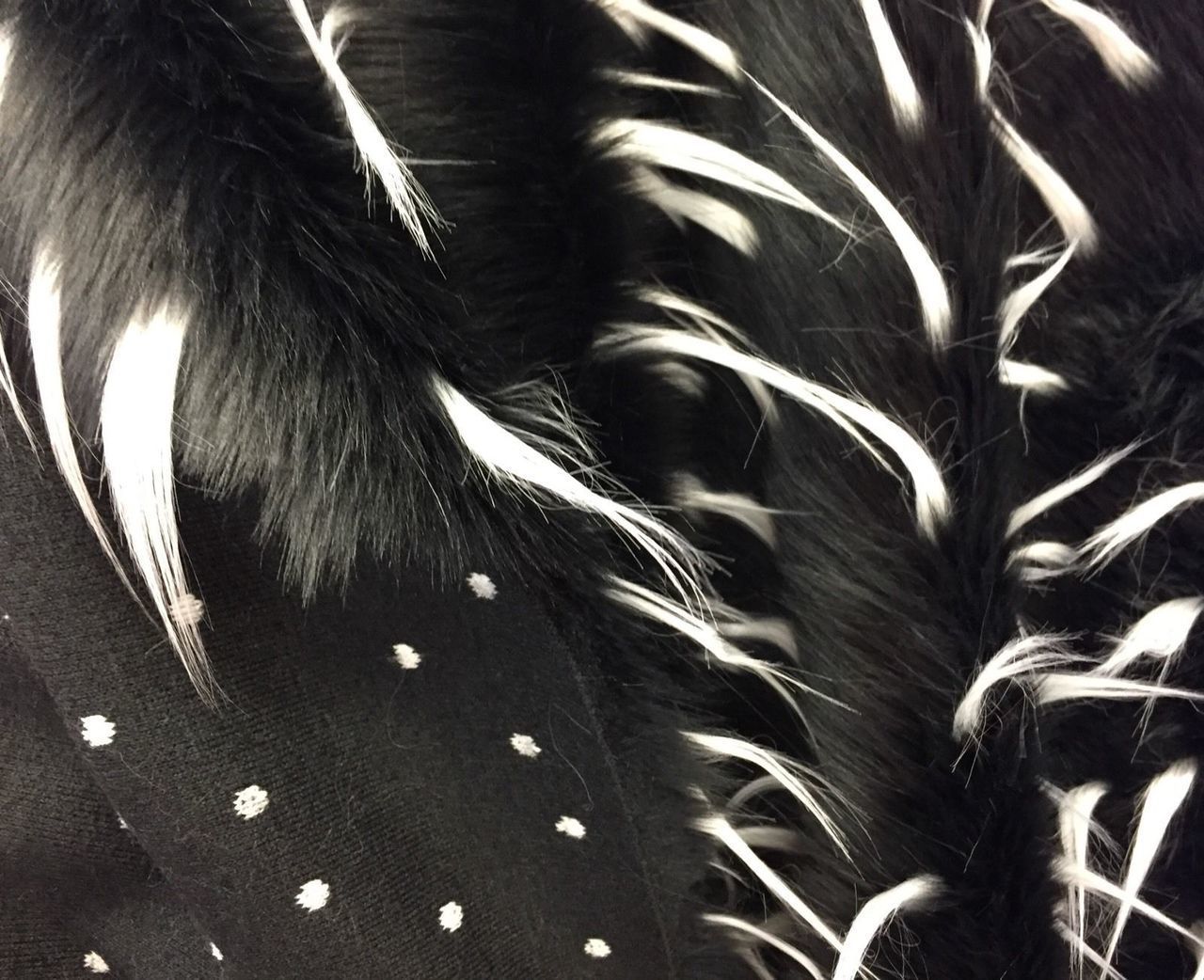 Luxurious Design Two Tone Spikes Faux Fur Fabric Black White. Sold By the yard - KINGDOM OF FABRICS