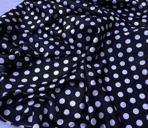 Black/white 1/2inch Polka Dot Silky/soft Charmeuse Satin Fabric. (20 Yards) - KINGDOM OF FABRICS