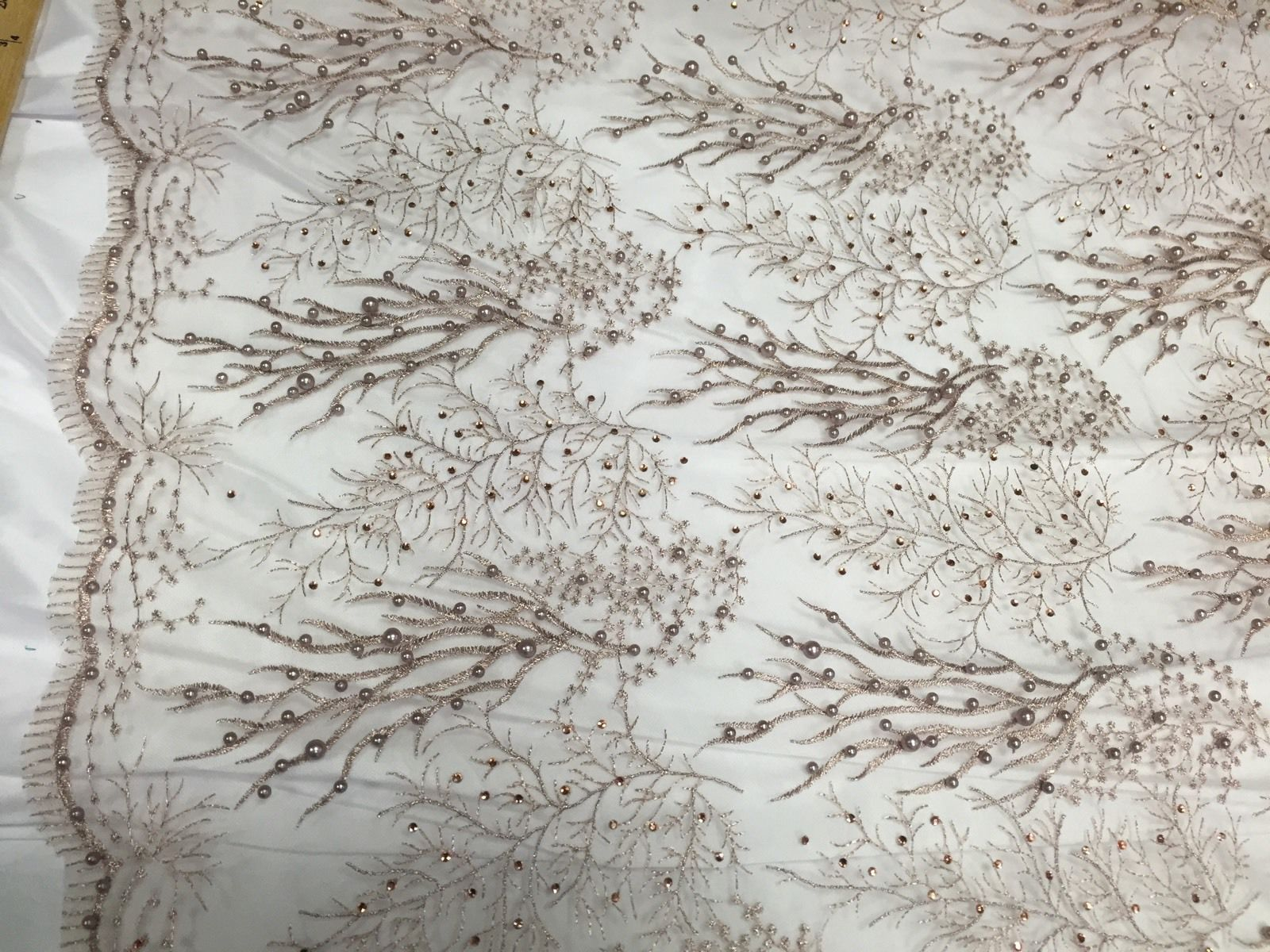 Royalty Pearls Branch Design Mesh Lace Fabric Nude. Sold By The Yard - KINGDOM OF FABRICS
