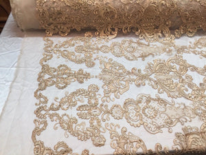 Lace Fabric - Flower Mesh Dress Gold For Embroidery Bridal Veil By The yard - KINGDOM OF FABRICS