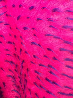 Luxurious Design Two Tone Spikes Faux Fur Fabric Fuschia. Sold By the yard - KINGDOM OF FABRICS