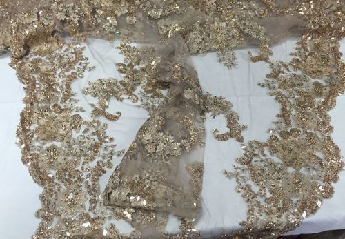 Italian Flower Design Mesh Lace Fabric Beaded Nude. Sold By The Yard - KINGDOM OF FABRICS