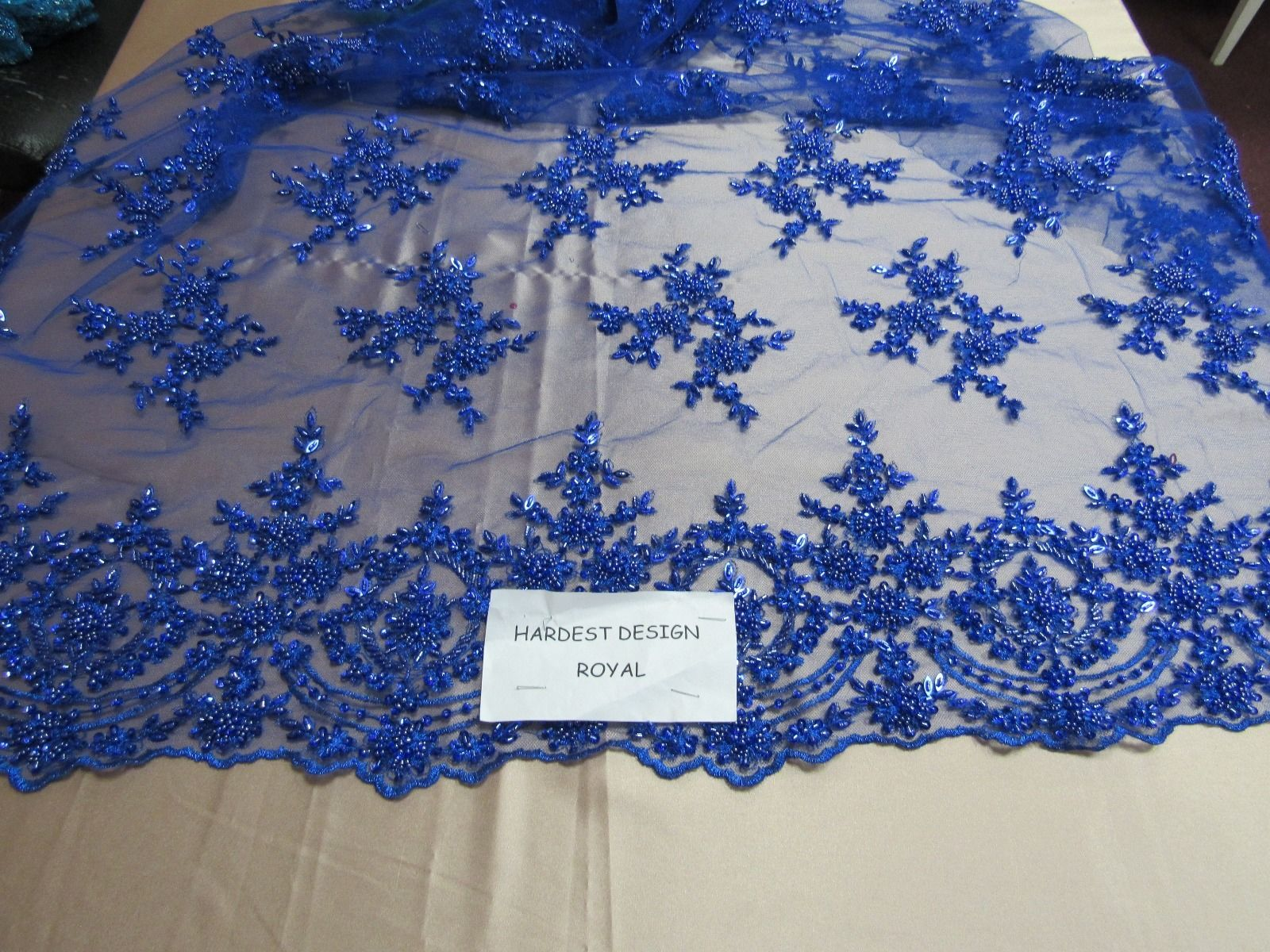 Royalty Bridal luxury wedding beaded royal mesh lace fabric. Sold by the yard - KINGDOM OF FABRICS
