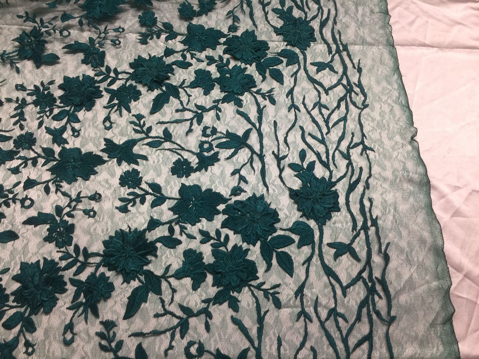 Flower Fabric - Mesh Net Type Spider 3D Flowers Green For Dress By The Yard - KINGDOM OF FABRICS