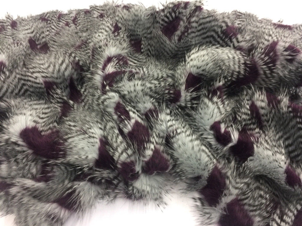 FEATHER/FEATHERD FAUX FUR FABRIC - Aubergine (LONG PILE) /YRD SOLD BTY - KINGDOM OF FABRICS