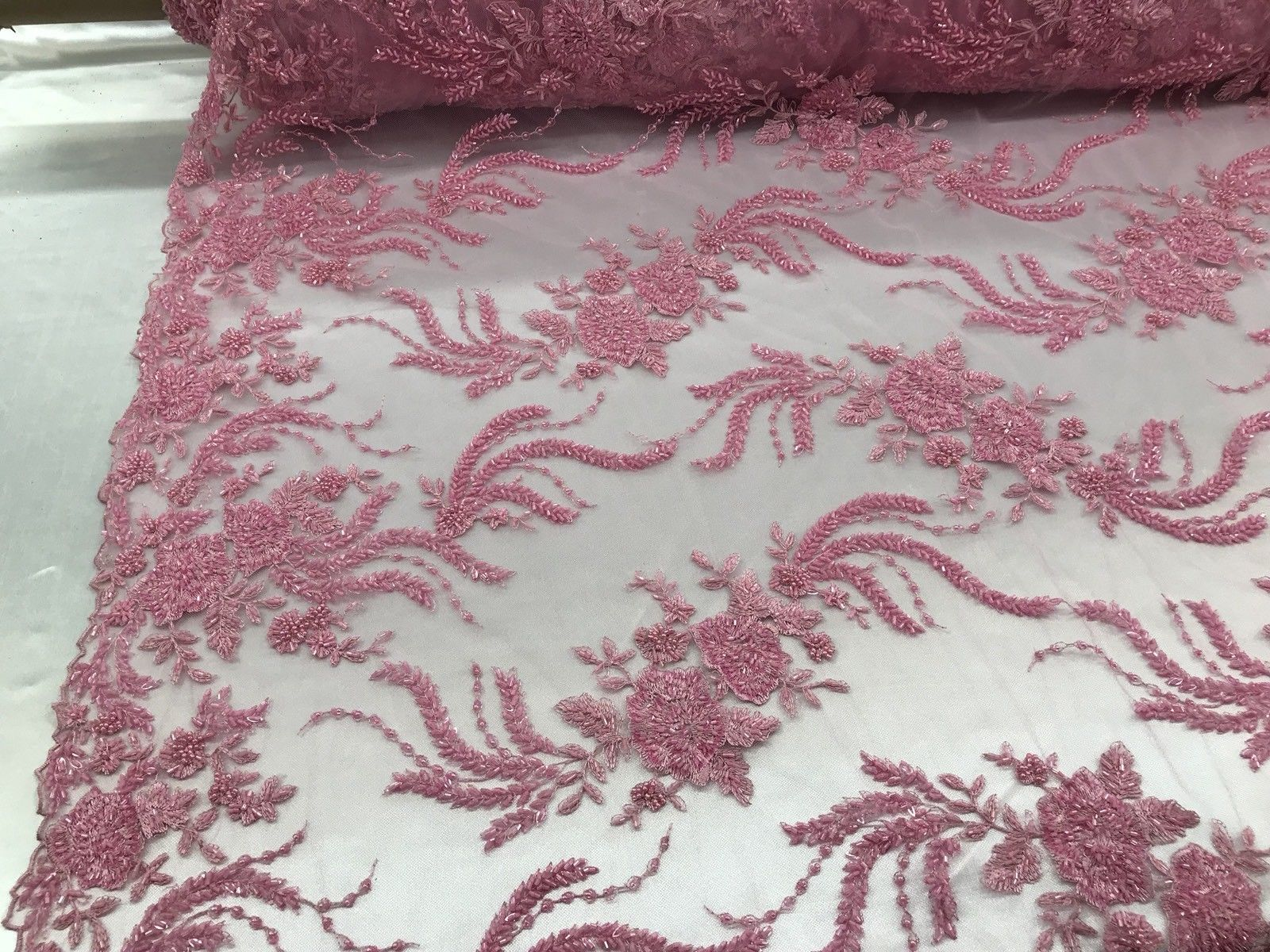 Secret's Design Beaded Lace Fabric - By The Yard Embroidered Mesh Bridal Wedding Dress Pink - KINGDOM OF FABRICS