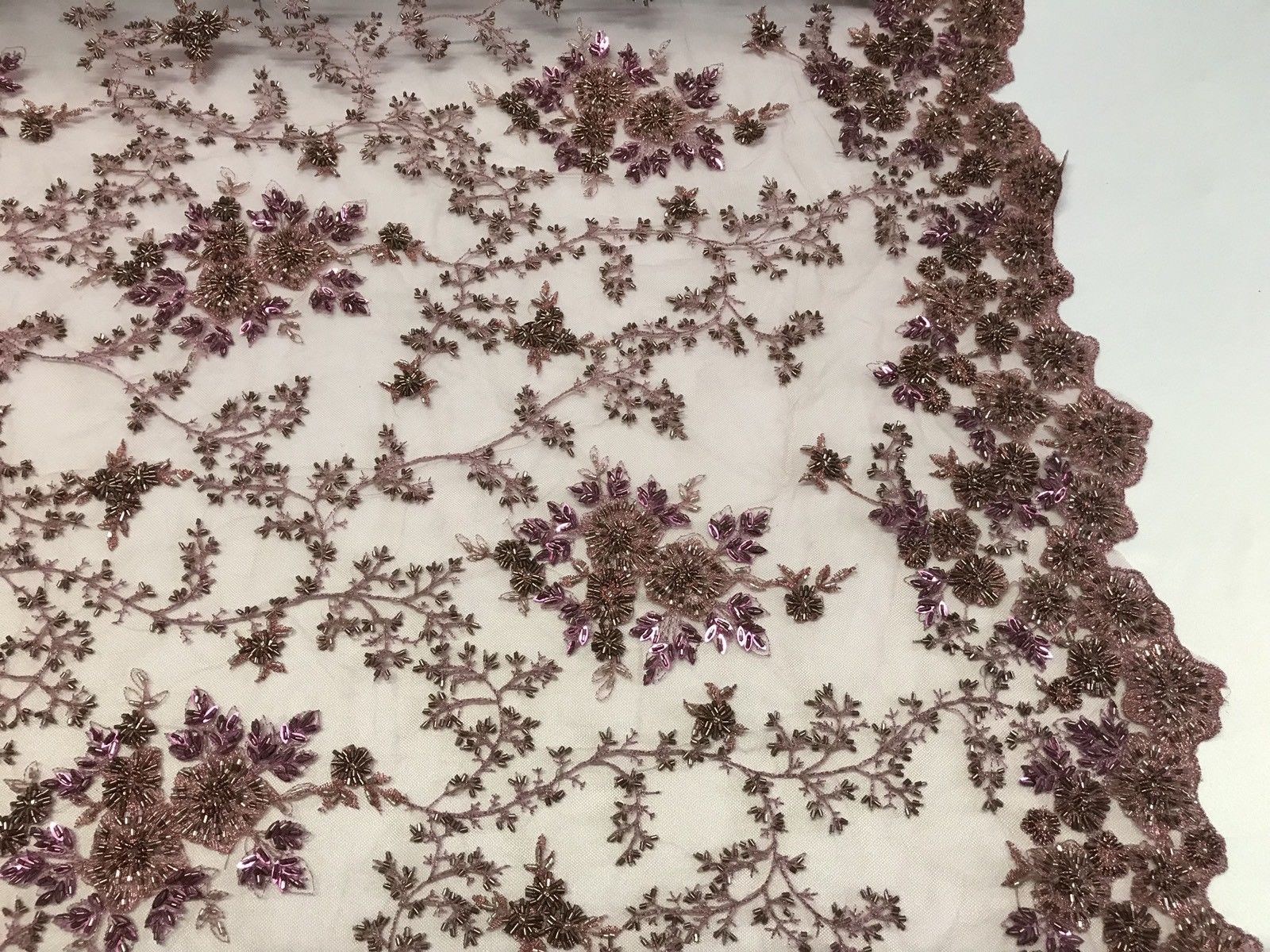 "Lace Fabric - Embroidered Tulle Beaded 48"" inch Dusty Multi-Color By The Yard - KINGDOM OF FABRICS"