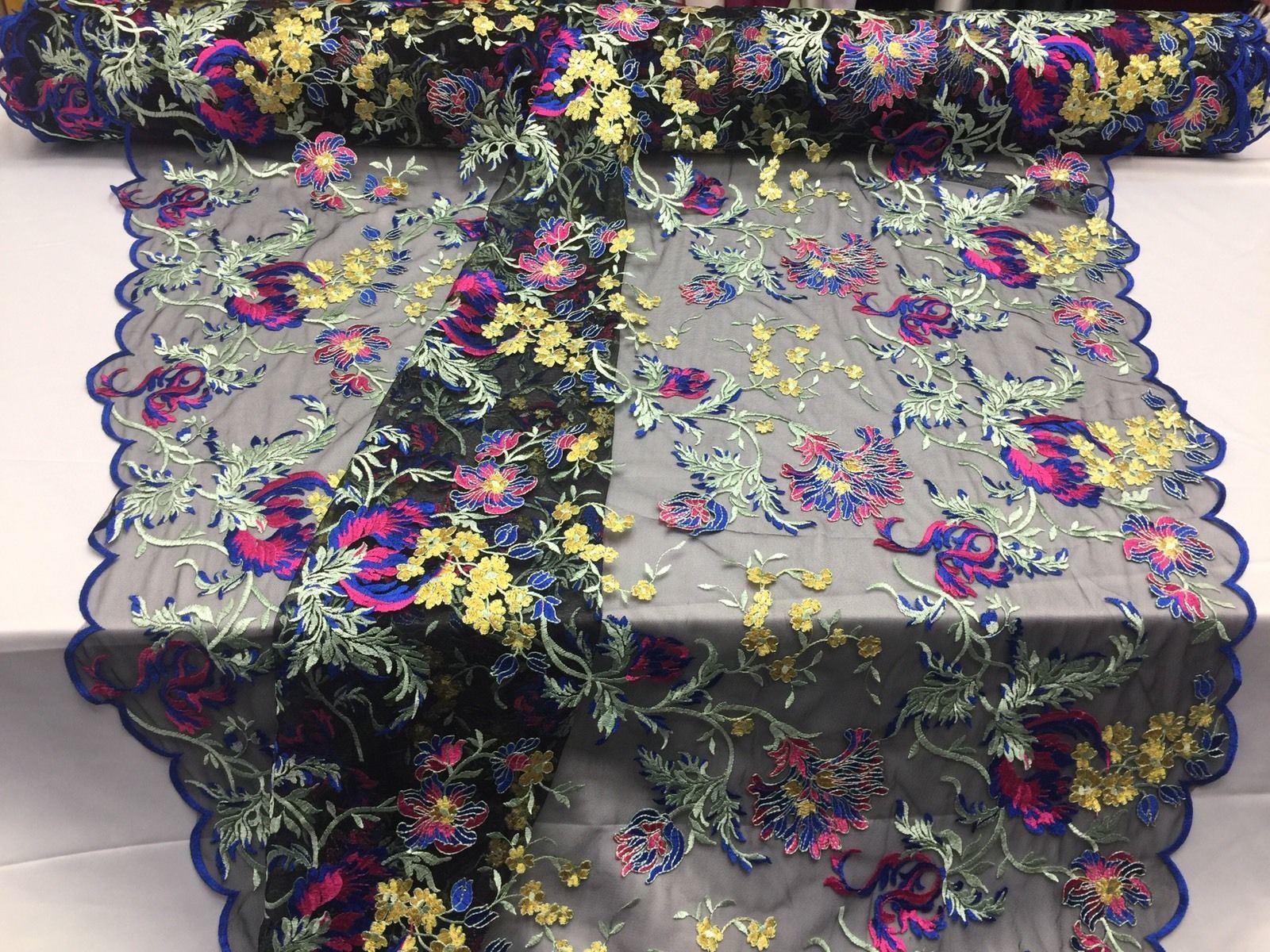 Flower Fabric - Mesh Lace Multi-Color Royal-Fuchsia-Yellow For Dress By The Yard - KINGDOM OF FABRICS